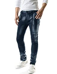 (TJ392) Mens Slim Fit Velcro Closure Pocket Point Washing Wrinkle Denim Jeans BLUE Small(US 27)