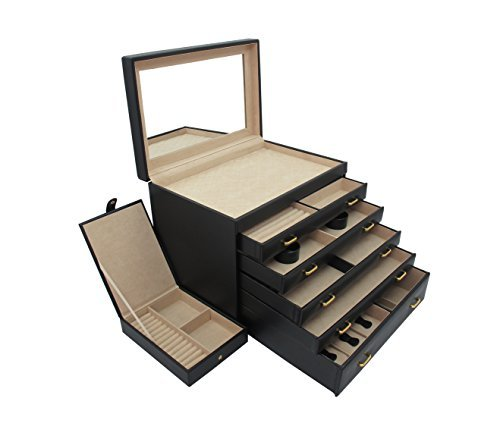 Extra Large Deluxe Jewelry Dresser Boxin Smooth Leatherette with 5 Drawers by Cordays CDL-10026 (Extra Large Dresser compare prices)
