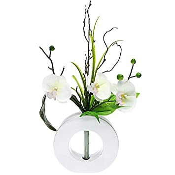 composition florale artificielle orchid es vase c ramique blanc fleurs. Black Bedroom Furniture Sets. Home Design Ideas