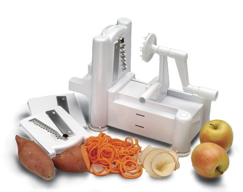 World Cuisine A4982799 Tri-Blade Plastic Spiral Vegetable Slicer