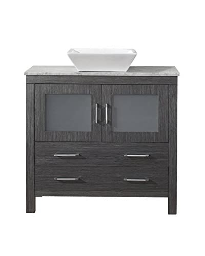 Virtu USA Dior 32 Single Bath Vanity Cabinet, Zebra Grey/White Marble