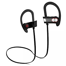 Bluetooth Headphones, Steily Extended Battery Life Wireless Bluetooth 4.1 Sports Sweatproof In Ear Earbuds with Mic Noise Reduction for iPhone Android 8Hrs Playtime (black)
