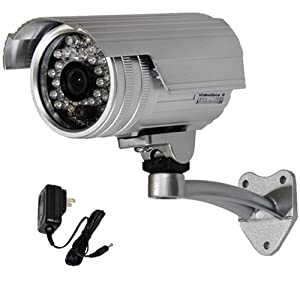 """VideoSecu Outdoor Day Night Security Camera Infrared Weatherproof 1/3"""" CCD 420 TV Lines 28 IR LEDs 3.6mm Wide View Angle Lens CCTV Home Surveillance with Free Power Supply IRX5"""