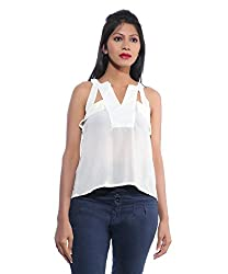Avakasa Polyester White Solids Partywear Sleeveless Sleeves Top (top-05-white)