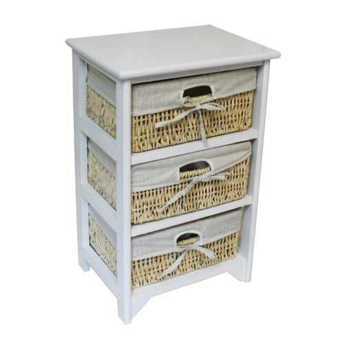 Jvl 3 tiroir blanc bois unit avec maïs tiroirs