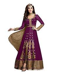 Maruti Creation Women's Georgette Semi-stitched Anarkali Suit Dress Material (MC1002_FREE_SIZE_PURPLE)