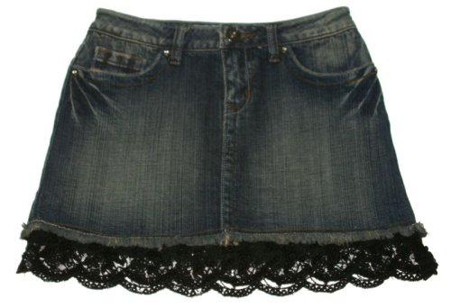 Girls Lace Trim Jean Denim Mini Short YMI Skirt