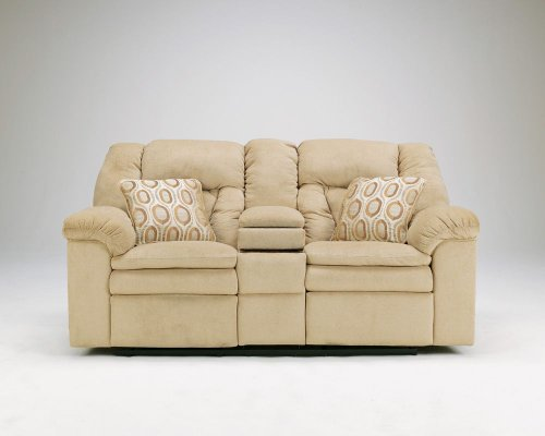 Buy Low Price Ashley Furniture Avalanche-Sandstone Double Reclining Loveseat w/ Console (B002G2N96C)