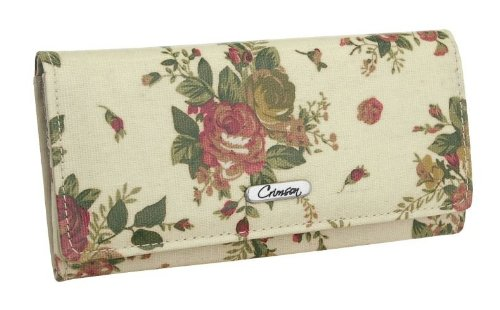 EyeCatchBags - Ladies Rosella Large Floral Design Purse Beige