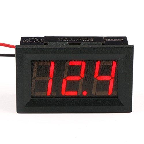 """DROK® Small Little DC Digital Voltmeter 2-Wire 0.56"""" DC 3-30V Red Bright LED Car Motor Panel Mount Voltage Meter 5V 12V 24V 27V Solar Battery Volt Accurate Power Monitor Gauge"""