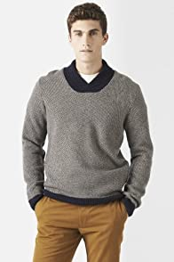 Wool Blend Jacquard Pattern Shawl Collar Sweater