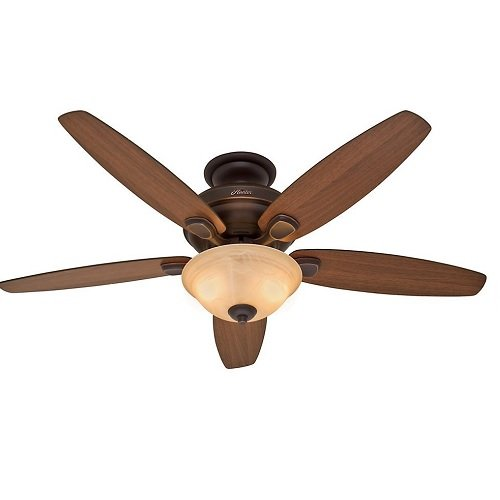 "Hunter Refurbished Newburgh 54"" Onyx-Bengal Ceiling Fan with Light 