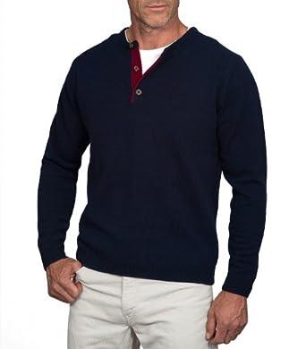 Wool Overs Pull à col tunisien homme en laine d'agneau Bleu marine/Lie de vin XS