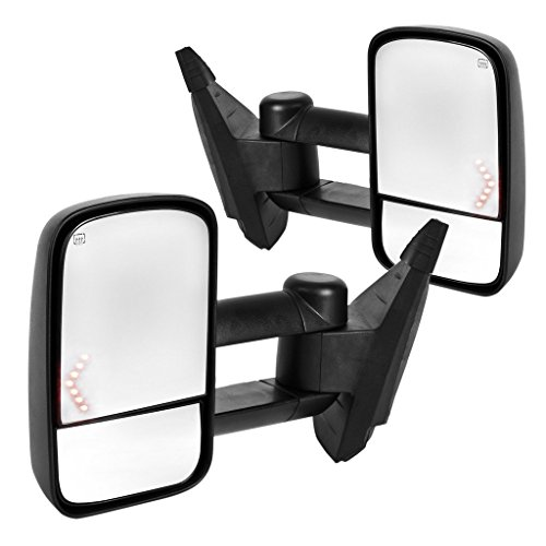 DEDC Towing Mirrors Chevy Tow Mirrors Fit For 2007-2013 Chevy Silverado 1500 2500 3500 GMC Sierra Power Heated With Arrow Led Light (08 Silverado 1500 Tow Mirrors compare prices)