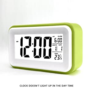 "HITO™ 6"" Alarm Clock w/ Date and Temperature Display, Repeating Snooze, Light-activated Sensor Light and Touch-activated Nightlight- Batteries/ USB powered (Green)"