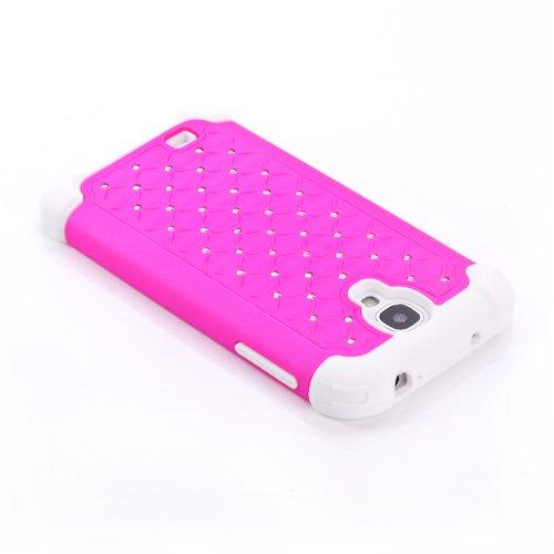 forepin 2 in1 Zubehör Set Luxury Hard Hot Pink Weiß CASE Bling Stars TASCHE Case für Samsung Galaxy S4 i9500 Schutz Hülle