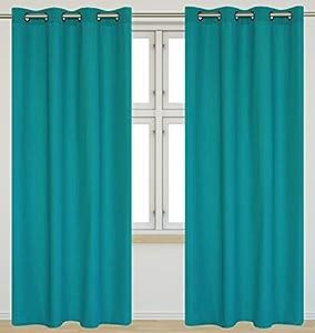 Karma 39 Faux Cotton 39 Grommet Curtain Set 54x95 In Turquoise Window Treatment Panels