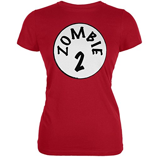Halloween Zombie 2 Two Costume Red Juniors Soft T-Shirt