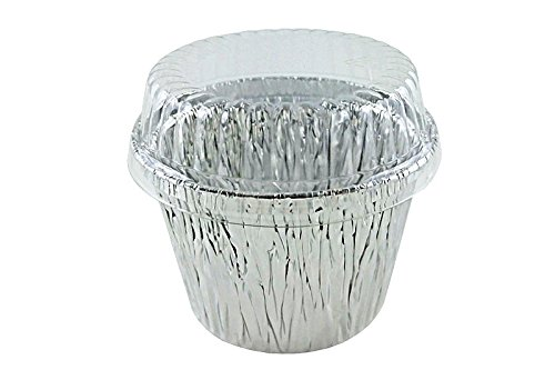 ATTA International 7 oz Deep Aluminum Foil Cupcake Muffin Ramekin Food Cup w/Clear Plastic Dome Lid (pack of 100)