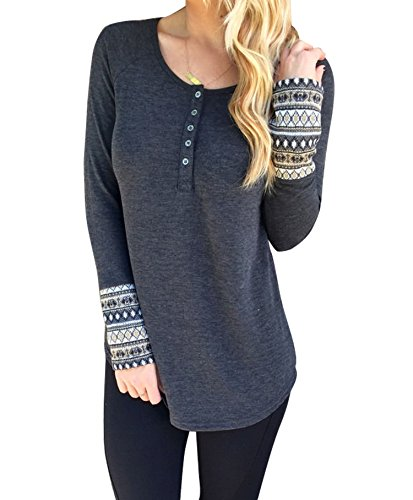 WANGSCANIS Women Round Neck Button Down Long Sleeve Loose Knit Sweater Jumper Top Grey M
