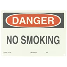 "Brady 47010 10"" Height, 14"" Width, B-120 Premium Fiberglass, Black And Red On White Color No Smoking Sign, Legend ""Danger, No Smoking"""
