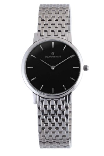 Claude Bernard Men's 20061 3M NIN Classic Gents - Slim Line Black Dial Stainless Steel Watch