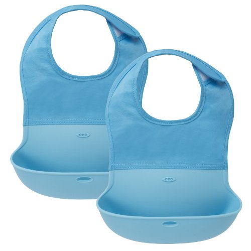 OXO Tot Roll Up Bib, 2 Pack - Blue