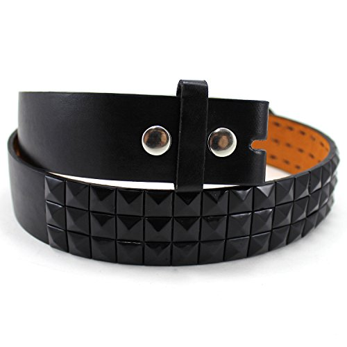 Enimay Solid Color Studded Belts With No Buckle Black Medium