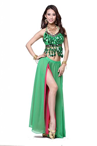 Feimei Women's Belly Dance Costume 2pcs/set(Diamond Shell Bra Top+Split Skirt)