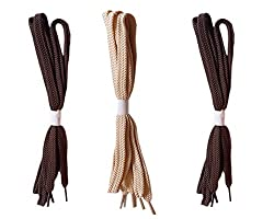 Demoda Flat Shoe Laces(Pack of 3 pair-2 Brown,1 Beige)