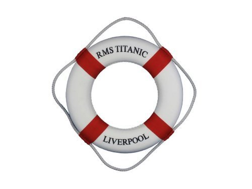 "RMS Titanic Lifering 15"" - Red - Titanic Memorablia - Life Ring Decoration by Handcrafted Model Ships"
