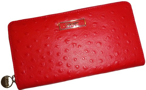 DKNY DKNY Women's Zip Around Ostrich Leather Wallet Red