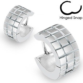 Pair of Small Silver Huggie Hoop Earrings with Brushed Faceted Square Grids (Diameter: 14mm. Width: appx 7mm) Stainless Steel (will not tarnish/fade) Supplied in Gift Bag