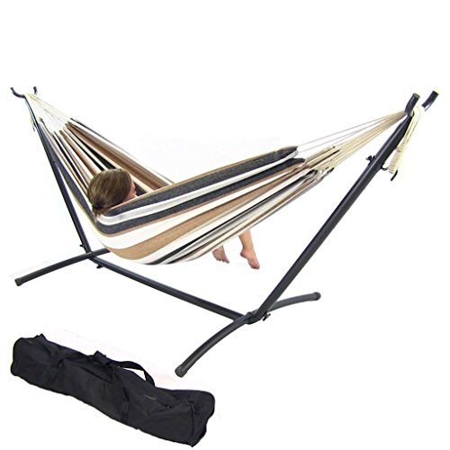 Sunnydaze Cotton Double Brazilian Hammock & Stand Combo with Portable Carrying Case – Calming Desert, 60 Inch Wide, 80 Inch Long
