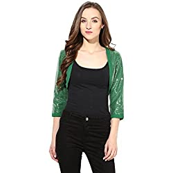 Short Shrug In Green Color Sequin