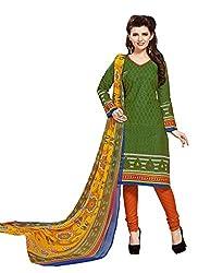 JAIPUR FABRICS Ethnicwear Women's Dress Material Green 1013