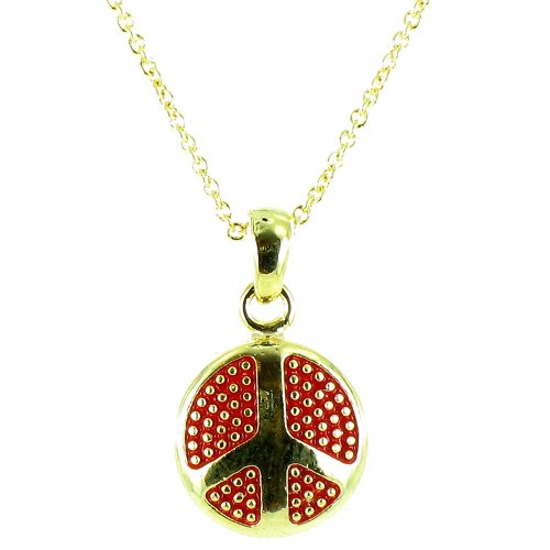 Red On Gold Plated Small Round Peace Symbol Necklace front-640753