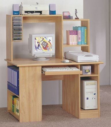 Natural Finish Wood Computer Workstation w/Shelf Desk