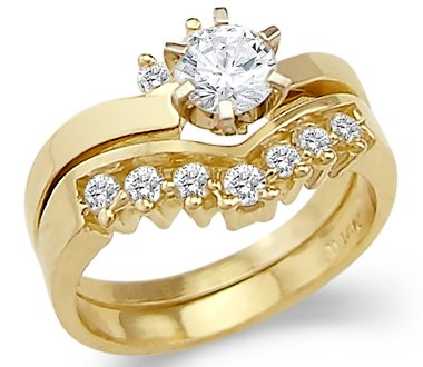 Size- 6 - New Solid 14k Yellow Gold Engagement Wedding Set CZ Cubic Zirconia Ring Band Round Cut 1.0 ct