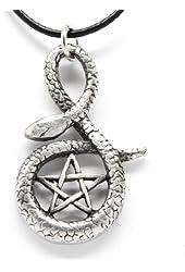 Pewter Snake Pentagram Star Pentacle Pendant on Leather Necklace