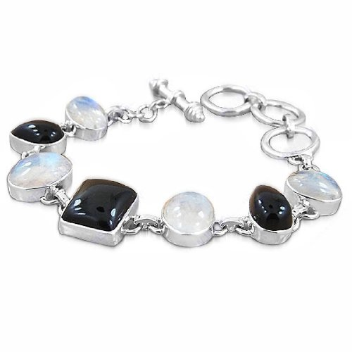 925 Sterling Silver Rainbow Moonstone Black Onyx Natural Gemstone Antique Style Wedding And Party Wear Strand Link Bracelet 8