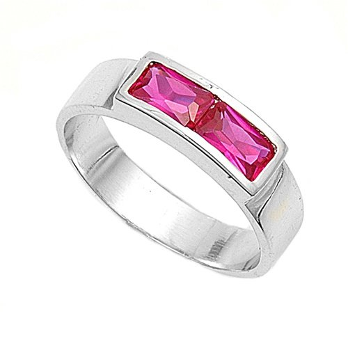 Sterling Silver Baby Ring with Ruby Colored CZ - 3mm Band Width - 4mm Face Height - Sizes: 1-4 - Rhodium Plated