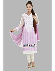 Utsav Fashion Women's Light Magenta Chanderi Cotton Readymade Churidar Kameez-Medium
