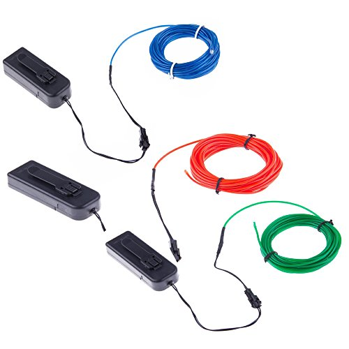 TopYart Neon LED Light Glow EL Wire Battery Pack String Strip Rope Tube Car Dance Party + Controller (9ft, Red+Blue+Green)