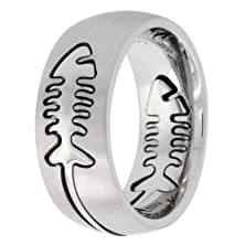 buy Surgical Steel Domed 9Mm Fish Bone Ring Wedding Band Comfort-Fit, Size 10