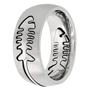 Surgical Steel Domed 9mm Fish Bone Ring Comfort Fit Wedding Band