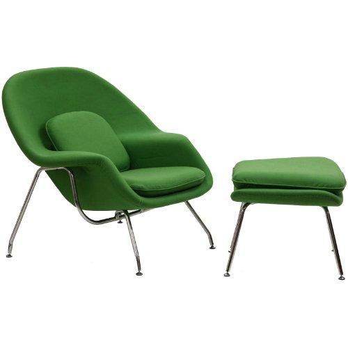 LexMod Eero Saarinen Style Womb Chair and Ottoman Set in Green