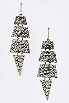 buy Karmas Canvas Etched Crocodile Print Pattern Earrings (Antique Silver)