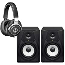 """Audio-Technica ATH-M70X Closed-Back Dynamic Professional Flagship Monitor Headphones, - Bundle With Pair of 2 Tascam VL-S5 5"""" 2-Way Professional Studio Monitor,"""
