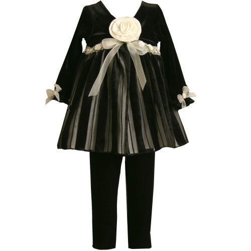 Bonnie Jean Toddler Girls 2T-4T 2-Piece BLACK IVORY VELVET BURN OUT STRIPE Special Occasion Flower Girl Holiday Party Dress/Legging Set-2T BNJ-4488X-X24488